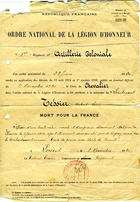 Ordre national de la Légion d'Honneur, Croix de Chevalier attribuée au lieutenant Tessier