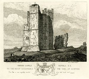 Henry Davy - Davy's drawing of the south-east face of the Orford Castle, Suffolk.