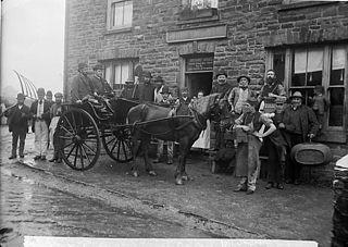 Outside the inn, Llansawel (1891)
