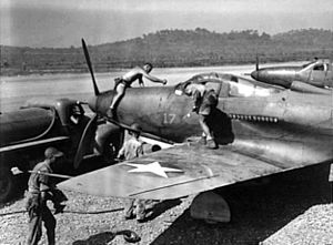 P-39s being serviced at Port Moresby 1942.jpg