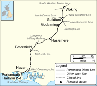 Portsmouth Direct line Railway line from London to Portsmouth, England
