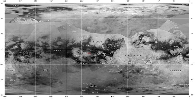map of Titan showing the names of many (but not all) features on the Saturnian moon that have been approved by the International Astronomical Union (images <= june 2015).