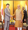 PM Modi meets the Governor of Kyoto Prefecture Keiji Yamada in Kyoto, Japan.jpg