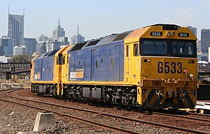 V/Line G class - Two Pacific National liveried G class locomotives in Melbourne in February 2007