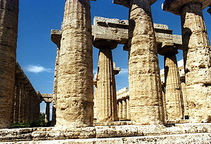 Entasis - The First Hera temple at Paestum, erroneously called a 'basilica' by eighteenth century authors, implemented entasis in its design