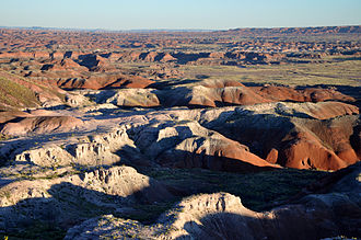 Petrified Forest National Park -  Painted Desert badlands as seen from the rim at Tawa Point
