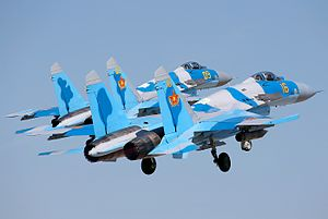 Pair of Kazakh Sukhoi Su-27P at Dyagilevo.jpg