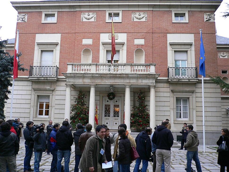 Palacio da Moncloa, residencia oficial do Presidente do Goberno, cabo do poder executivo.