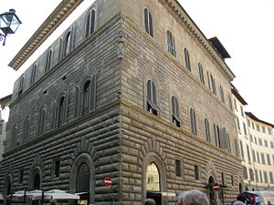Jacopo Salviati - Corner view of the Palazzo Gondi, Florence, built in 1490 under design by Giuliano da Sangallo, (1443 - 1516)