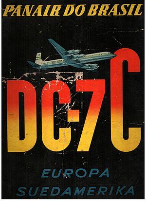 Panair do Brasil - German advertising of Panair DC-7 service from Europe to South America