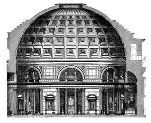 Discharging arch - Cross section of the Pantheon showing the discharging arch on the right side