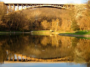 Panther Hollow Bridge - Panther Hollow Bridge from Panther Hollow Lake in Schenley Park.