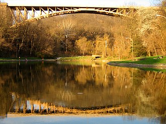 Schenley Park - Panther Hollow Bridge seen from Panther Hollow Lake in Schenley Park.