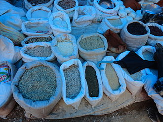 Telangana cuisine - Various types of Lentils (Pappulu) and millets for sale in market