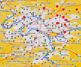 Summary and map of the 2005 French riots - Areas affected (partial)