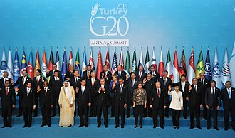 Turkey is a founding member of the OECD (1961) and G20 (1999) Participants at the 2015 G20 Summit (Presidencia de la Nacion Argentina).jpg