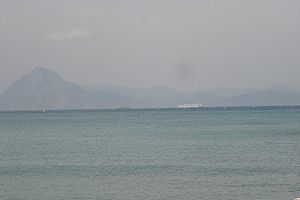 Gulf of Patras - Gulf of Patras seen from the coast of Achaea; the mountains of Aetolia in the background