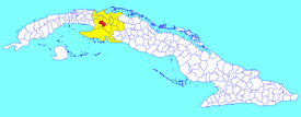 Pedro Betancourt municipality (red) within  Matanzas Province (yellow) and Cuba