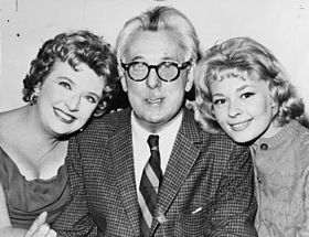 Peggy Cass (left), with James Thurber and Joan Anderson in A Thurber Carnival, 1960