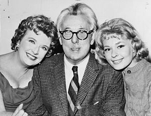 A Thurber Carnival - Peggy Cass, James Thurber and Joan Anderson promoting A Thurber Carnival