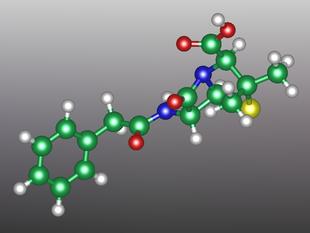 Modello tridimensionale della molecola (benzilpenicillina)