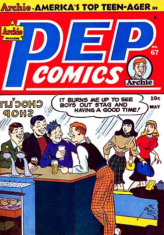 Archie Andrews - Archie and the gang on the cover of Pep number 67 (May 1948), artwork by Al Fagaly.