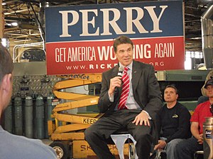 Rick Perry presidential campaign, 2012 - Rick Perry at a campaign stump in December 2011