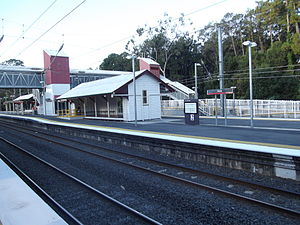 Petrie railway station - Northbound view from Platform 1 in May 2012