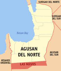 Map of Agusan del Norte with Las Nieves highlighted