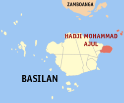 Map of Basilan with Hadji Mohammad Ajul highlighted