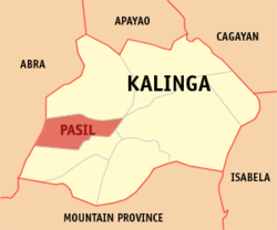 Map of Kalinga with Pasil highlighted