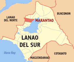 Map of Lanao del Sur with Marantao highlighted