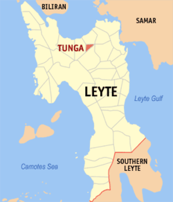 Map of Leyte with Tunga highlighted