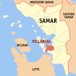 Map of Samar with Villareal highlighted