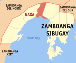 Map of Zamboanga Sibugay with Naga highlighted