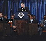 """Photograph of President Reagan addressing the Annual Convention of the National Association of Evangelicals( """"Evil... - NARA - 198535 (cropped).jpg"""
