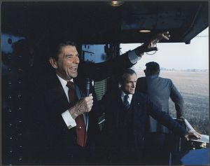 United States presidential election in Ohio, 1984 - On the campaign trail, Reagan waves to supports during his whistle-stop tour of Ohio. October, 1984.