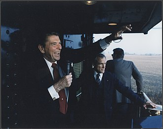 1984 United States presidential election in Ohio - On the campaign trail, Reagan waves to supports during his whistle-stop tour of Ohio. October, 1984.