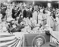 Photograph of President Truman with Mrs. Truman and other dignitaries, at Griffith Stadium in Washington on opening... - NARA - 200102.tif