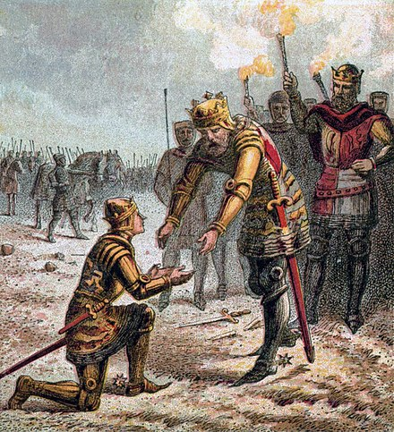 The Black Prince meets King Edward after the battle of Crecy. Pictures of English History Plate XXX - The Black Prince at Crecy.jpg