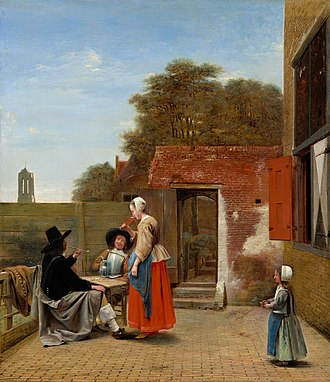 The Wine Glass - Pieter de Hooch, A Dutch Courtyard, circa 1657