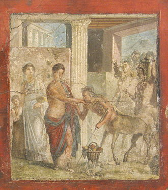 Hippodamia (wife of Pirithous) - Hippodamia greeted by a seemingly genteel Centaur in a wall painting from Pompeii