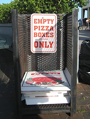 Pizza box - A pizza box collection point at Old Orchard Beach, Maine