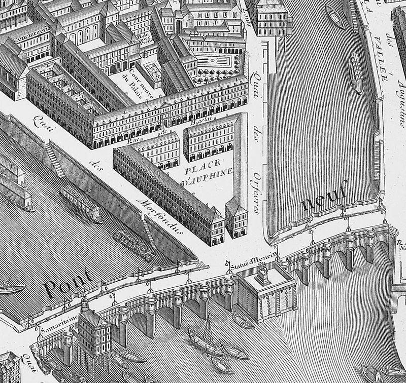 Place Dauphine on 1739 Turgot map of Paris - KyotoU.jpg