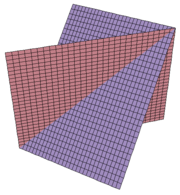 Two intersecting planes in three-dimensional space