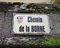 Pommiers (Rhône) - Chemin de la Borne (plaque) - jan 2018.jpg