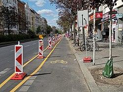 Pop-up bike lane Kottbusser Damm Berlin.jpg