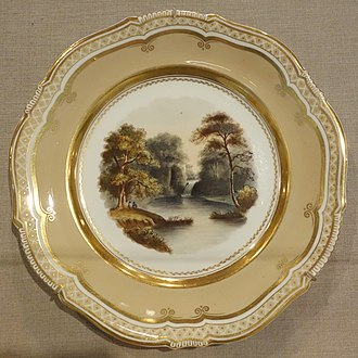 """Hagley Park, Worcestershire - """"The British Tempe"""" on an early 19th century serving plate"""