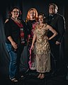 Portrait photoshoot at Worldcon 75, Helsinki, before the Hugo Awards – Kameron Hurley, Cheryl Morgan, Sarah Gailey and Jukka Halme.jpg