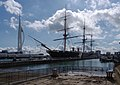 Portsmouth MMB 20 Royal Naval Dockyard - HMS Warrior and the Spinnaker.jpg